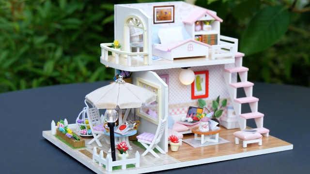 DIY少女小型娃娃屋,自带小花园
