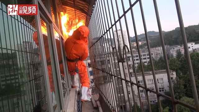 脸盆大马蜂窝挂阳台,消防点火驱蜂