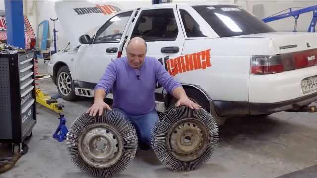 大叔脑洞大开,用3000根钉取代轮胎