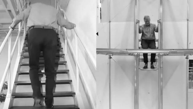 自助脚蹬电梯,花很少的力气上下楼