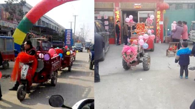 会玩儿!拖拉机当婚车,新娘啥反应?