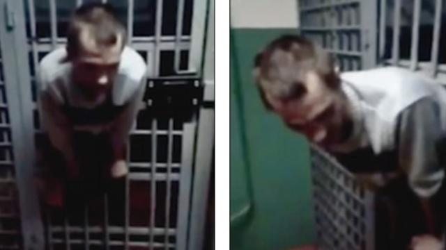 俄罗斯小哥越狱失败:卡在了门中间