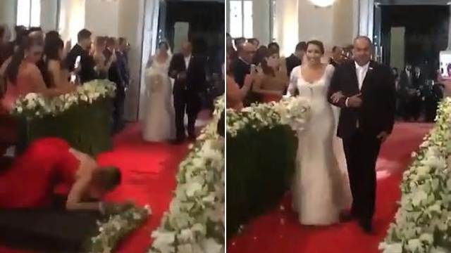 婚礼现场,一女宾倒在新娘红毯上