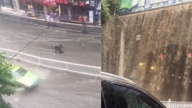 恩施暴雨如注,街道成河冲走摩托车