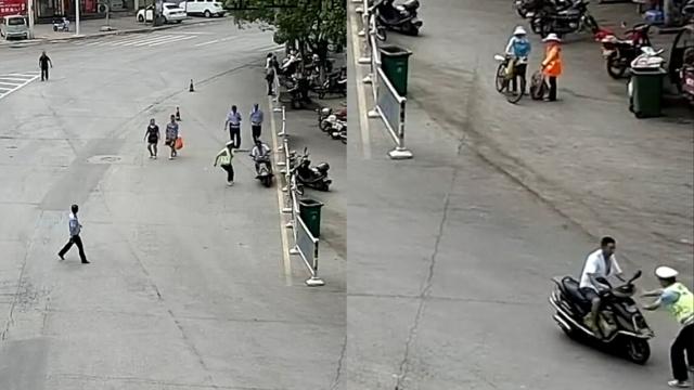 他骑车强闯中考警戒线撞民警→被拘