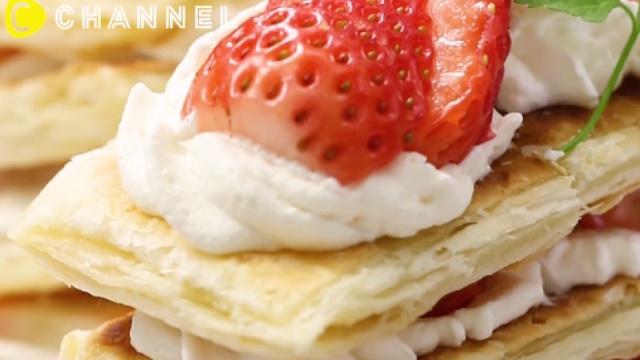 草莓拿破仑千层蛋糕,超美味