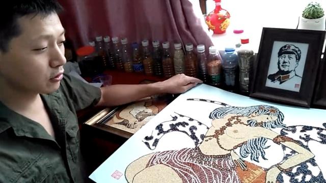 小伙用种子杂粮作画,家中藏美术馆