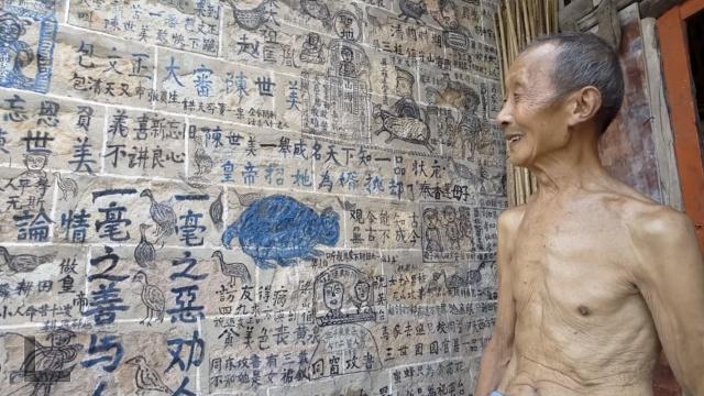 厉害!80岁老农未学画,梁祝画墙上