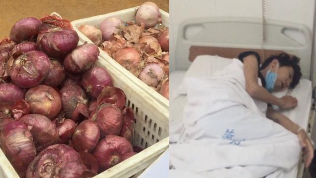 9岁男孩街头卖洋葱,为重病母亲筹款