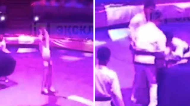朝鲜杂技演员表演失误,脖子猛着地