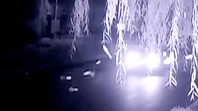 车撞隔离桩如打保龄球,桩飞司机逃