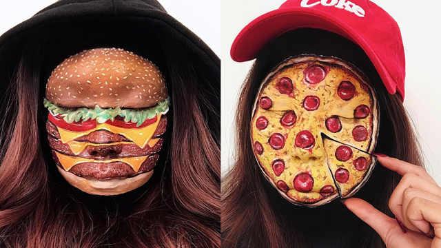 美女脸上画逼真美食,网友:看饿了