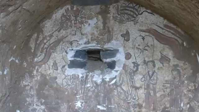 江西萍乡现宋代古墓,墓内壁画完整