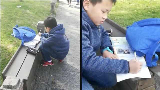 10岁男孩独游西湖,看着风景写作业
