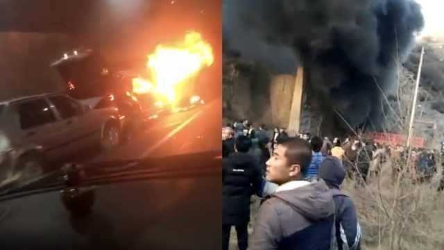 轿车隧道内起火,人群逃生高速封闭