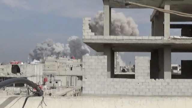 叙利亚空袭现场实拍:人和动物死去
