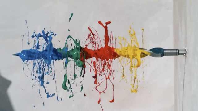 眼花缭乱:慢放电钻涂上颜料的画面