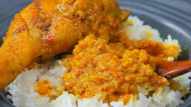 咸香十足的咖喱鸡腿盖饭,美味多汁