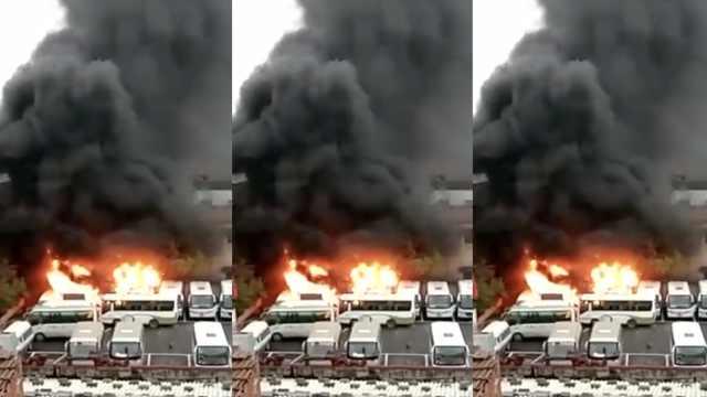 俩9岁熊孩子车上玩火,烧掉4辆巴士