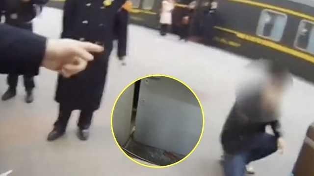 无票强行上火车,男子砸碎车门被拘