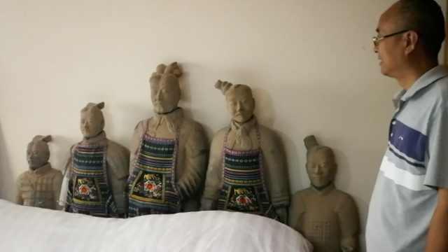 旅馆摆满兵马俑,网友:太诡异不敢住