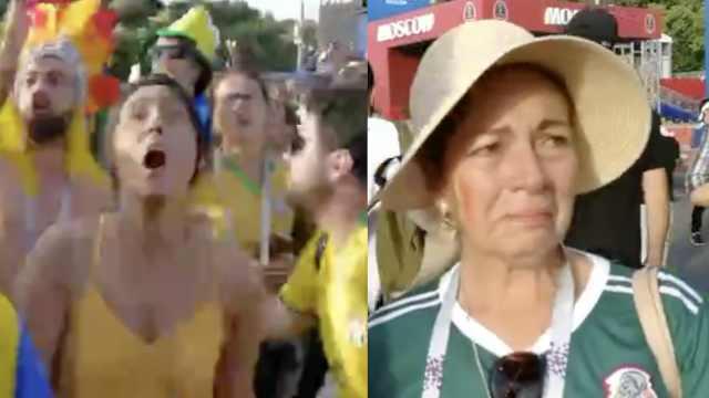 看巴西人狂欢,墨西哥球迷默默哭泣