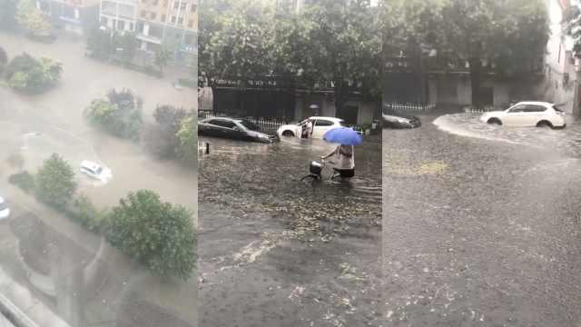 暴雨突袭河北,道路被淹开车如划船