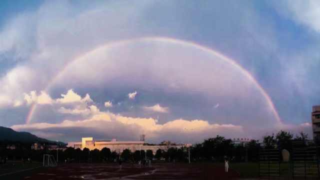 安徽安庆现双彩虹,学生许愿不挂科