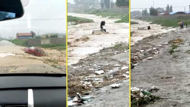 小车强行过洪水被冲走,1块石救2人
