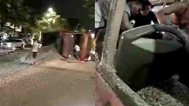 货车侧翻沙子灌满公交车,乘客被埋