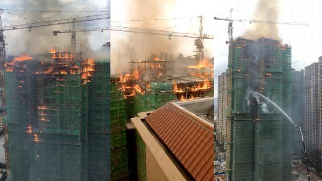 湖南宁远在建高楼大火,火势已控制