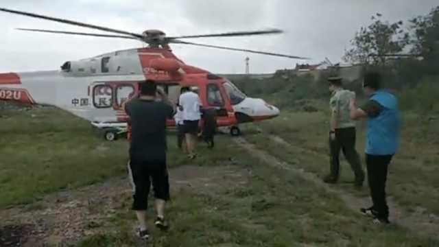 女子发病被困海岛,直升机救援