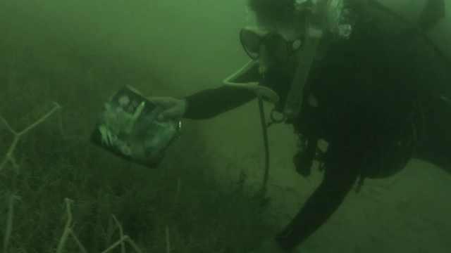 超酷!数十潜水爱好者水下打捞垃圾