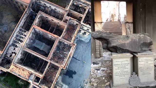 痛心!巴西国博烧成废墟,民众抗议