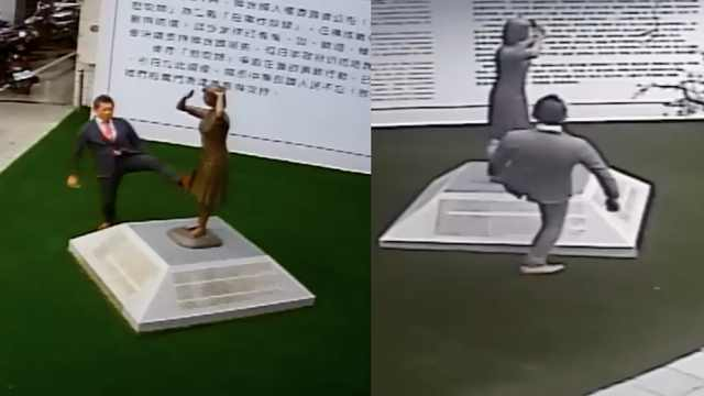 嚣张!日本男子脚踹台南慰安妇铜像