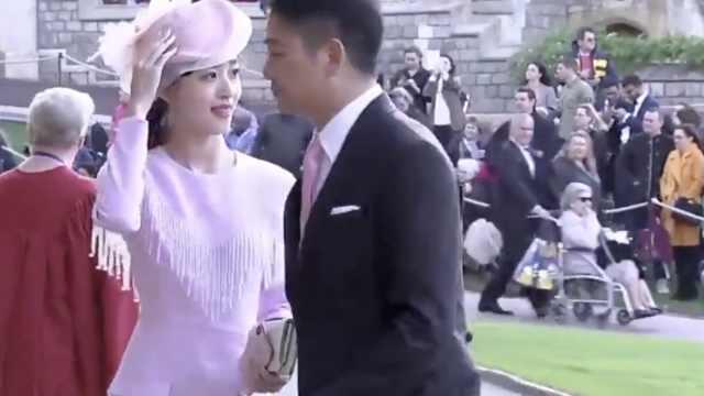 刘强东夫妇出席王室婚礼,双指紧扣