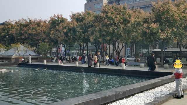 谴责!喷泉遭游客扔石头,喷头被砸歪