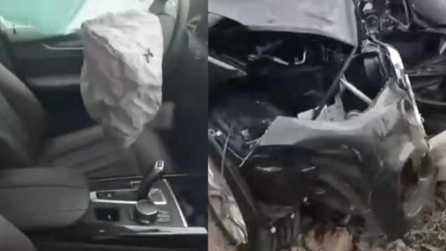 女销售带客户试驾,宝马X5撞烂车头