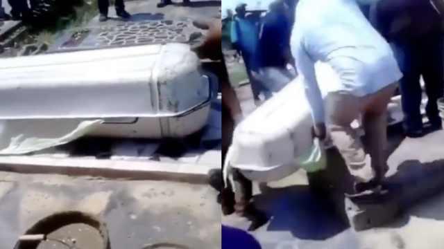 穷困!委内瑞拉有人用塑料棺材下葬