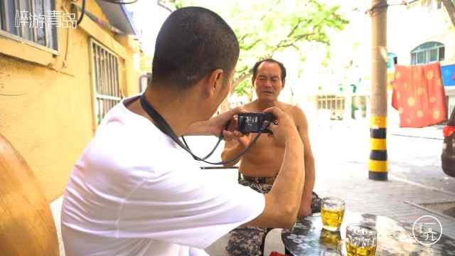 大叔拍摄青岛人喝酒照片,只为留念