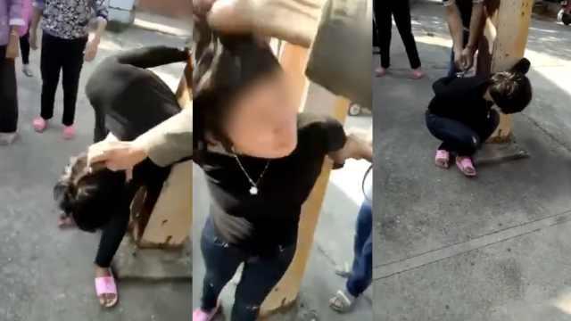 女子入室盗窃,被村民反绑柱子上