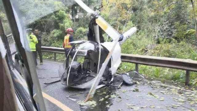 四川一直升机坠落峨眉山,致2人伤