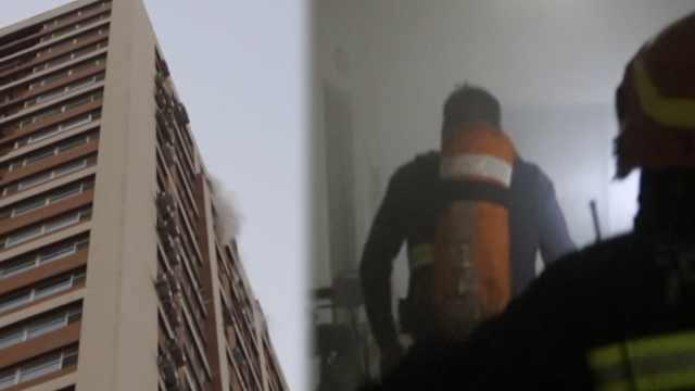 哮喘病人困火场,消防摘呼吸器给他