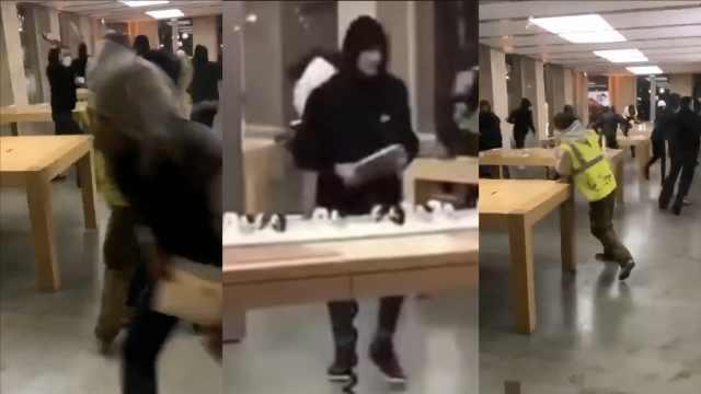法国抗议引骚乱,苹果商店遭洗劫