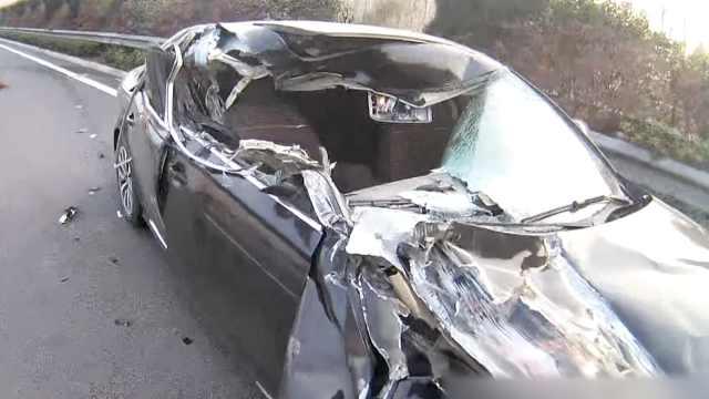 他开车打了个盹,奥迪被撞个大窟窿