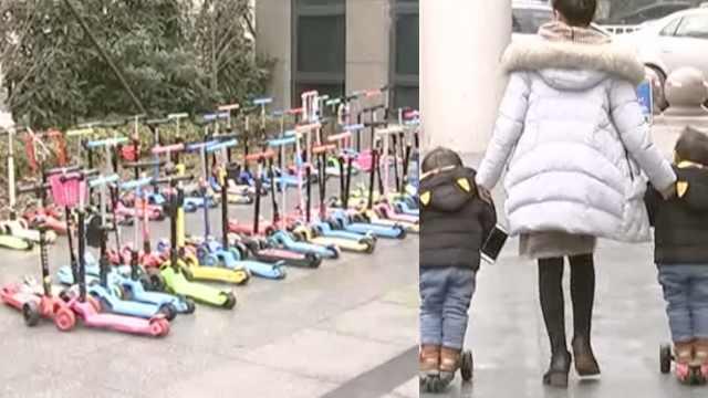 幼儿园就要抢车位!门口停满滑板车