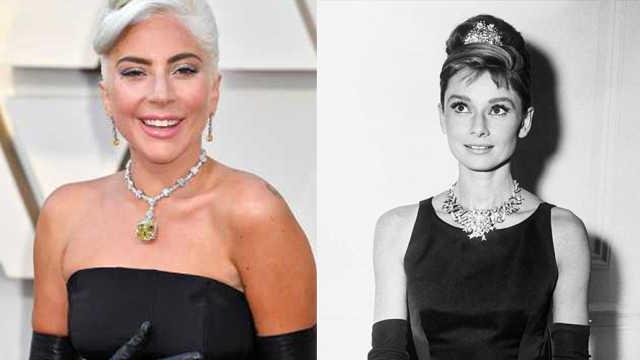 Gaga红毯致敬赫本,戴其旧年钻石