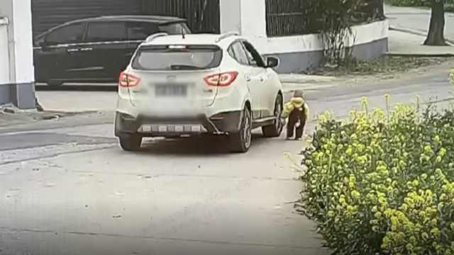 痛!幼童独自走到轿车盲区,惨遭碾压