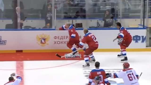 表演赛独中8球,普京绕场庆祝时摔倒