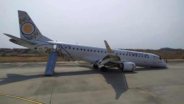 缅甸客机着陆失败机头触地画面曝光